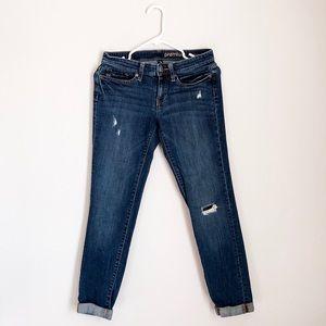 GAP premium boyfriend jeans distressed dark wash